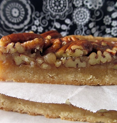 Martha's Pecan Bars - shortbread base layered with a brown sugar/honey caramel and loads of pecans