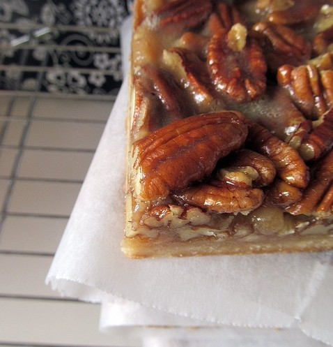 Martha's Pecan Bars - a decadent shortbread layered with honey/brown sugar caramel and loads of pecans
