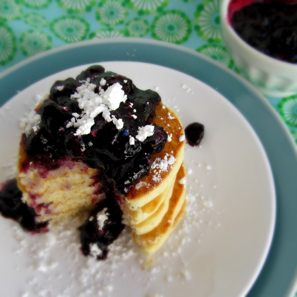 Gluten Free Buttermilk Pancakes and Roasted Blueberries