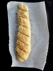 super quick cinnamon sugar baguette rolled, brushed, sliced
