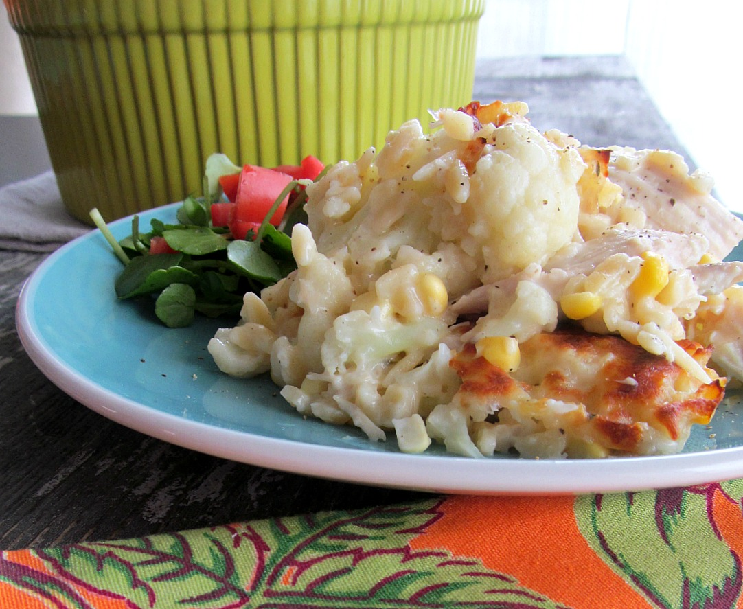 Cheesy Chicken and Cauliflower Orzo Bake | Home is Where The Cookies ...