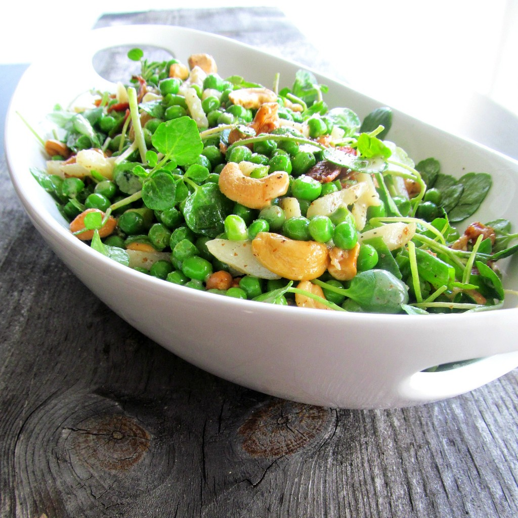 Sweet Baby Pea Salad with cashews, bacon, watercress, water chestnuts, and scallions in a vinaigrette - nice holiday side dish.