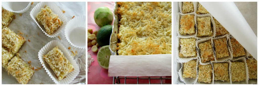 Coconut Lime Bars; cookie bars with coconut, lime, macadamia, and a buttery cookie base