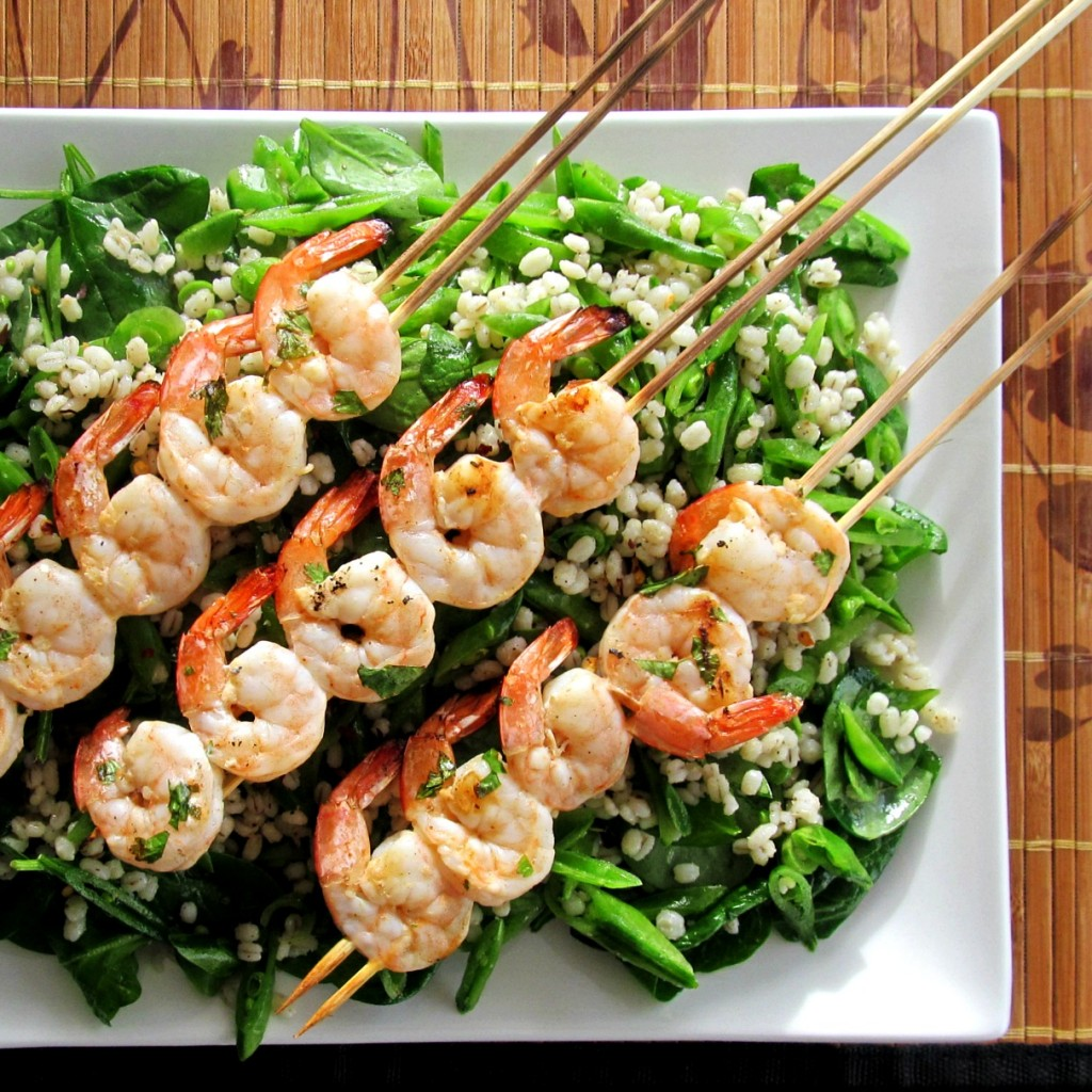 Sugar Snap and Barley Salad with Spicy Grilled Shrimp