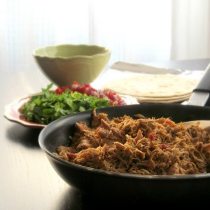 Tex-Mex Slow Cooker Chicken with sofrito and DIY, homemade taco seasoning