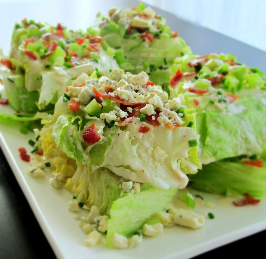 Stacked Wedge Salad with bacon, blue cheese, chives, celery; Smitten Kitchen Recipe