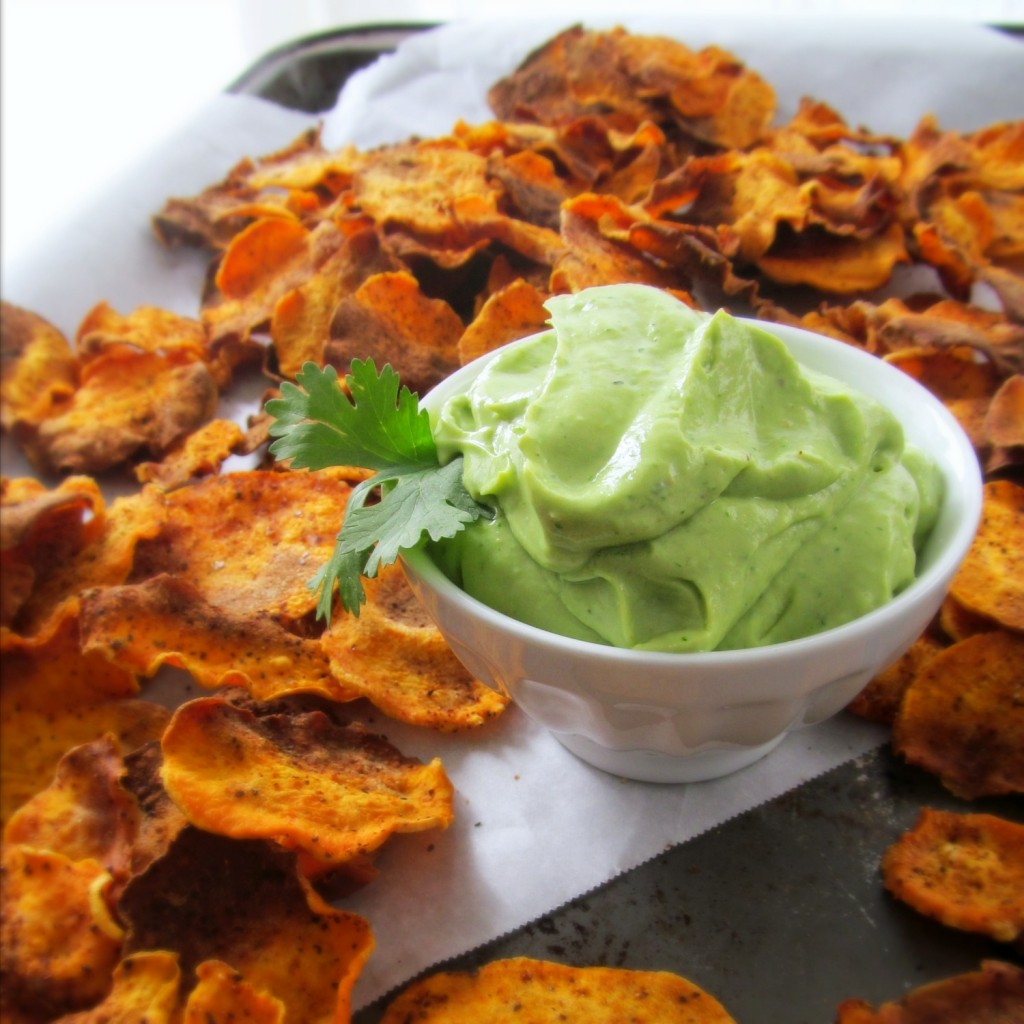 Homemade Sweet Potato Chips and Creamy Avocado Lime Dip