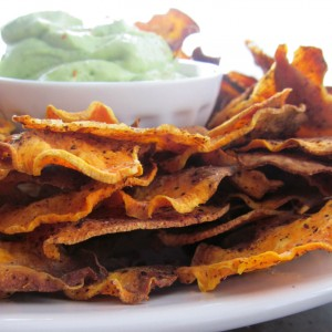 Homemade Sweet Potato Chips with Creamy Avocado and Lime Dip