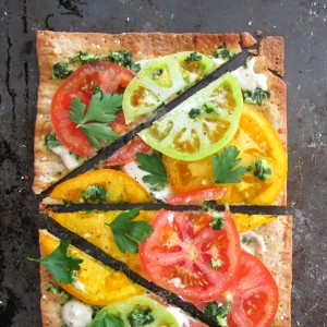 Summer Tomato Flatbread Pizza with Savory Cashew Cream