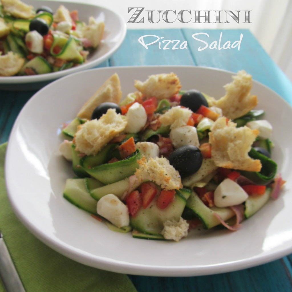Zucchini Pizza Salad - zucchini, tomato, red bell pepper, fresh mozzarella, salami, pepperoni, homemade vinaigrette, olives, croutons