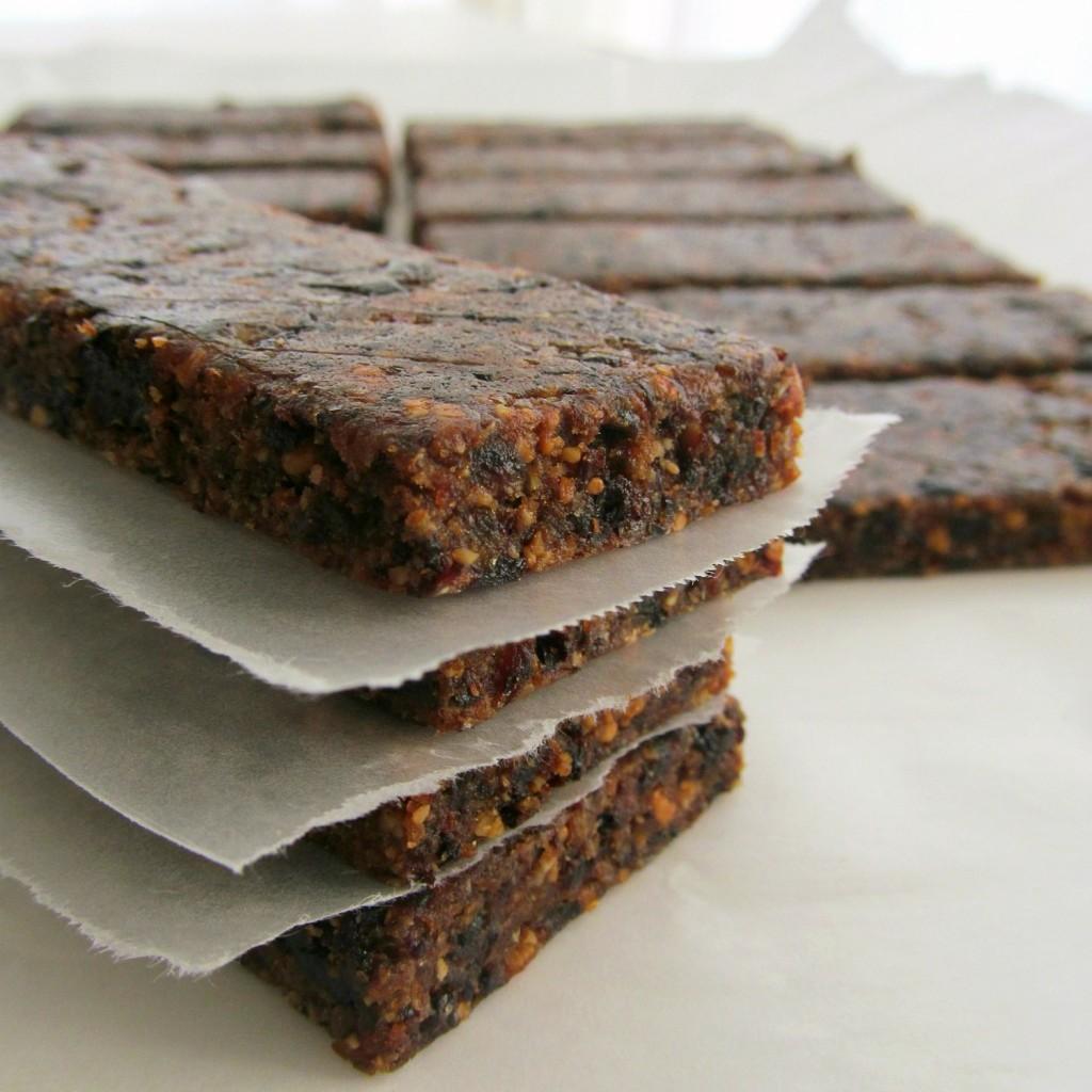 Homemade Energy Bars; Dried fruit, nuts, oats, breakfast bars, dates, cherries, orange, almond
