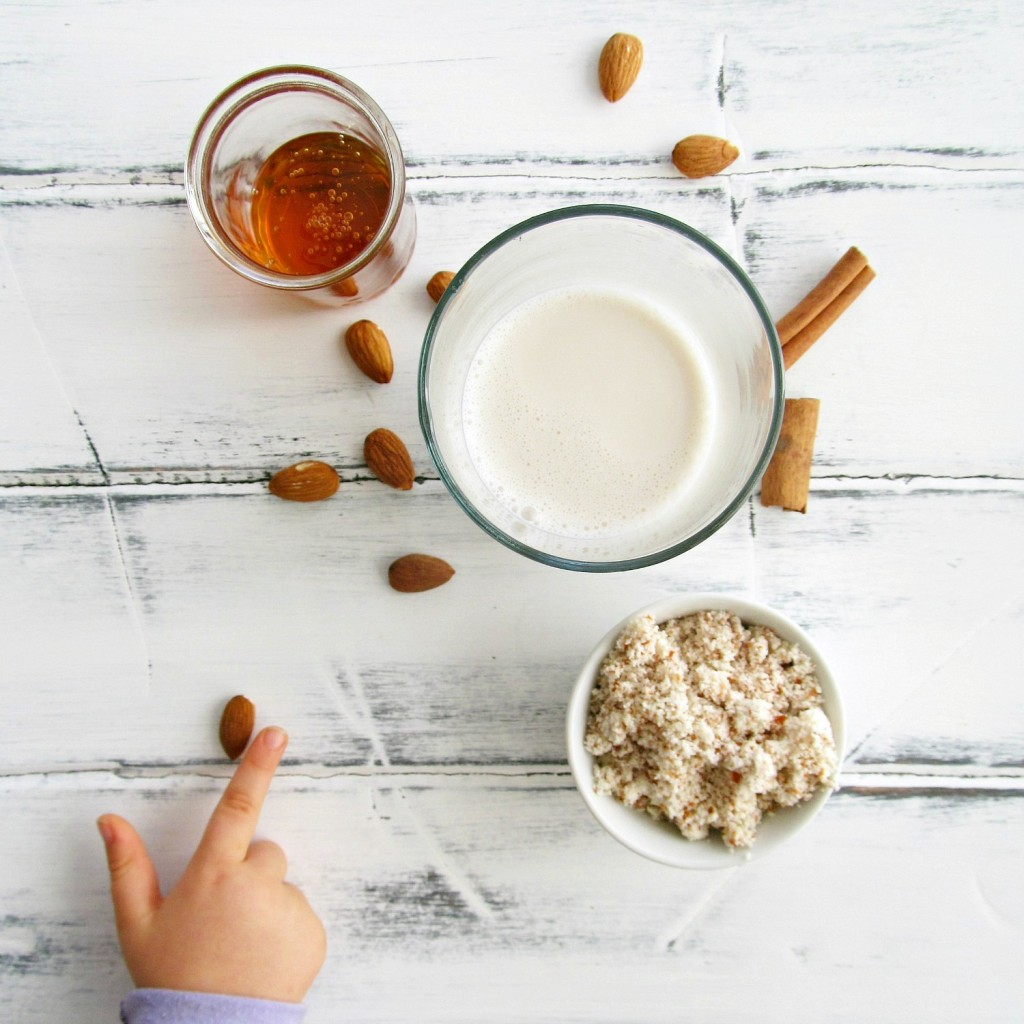 homemeade almond milk  - make it at home without all the funky additives, then add it to your fave smoothies and baked goods!