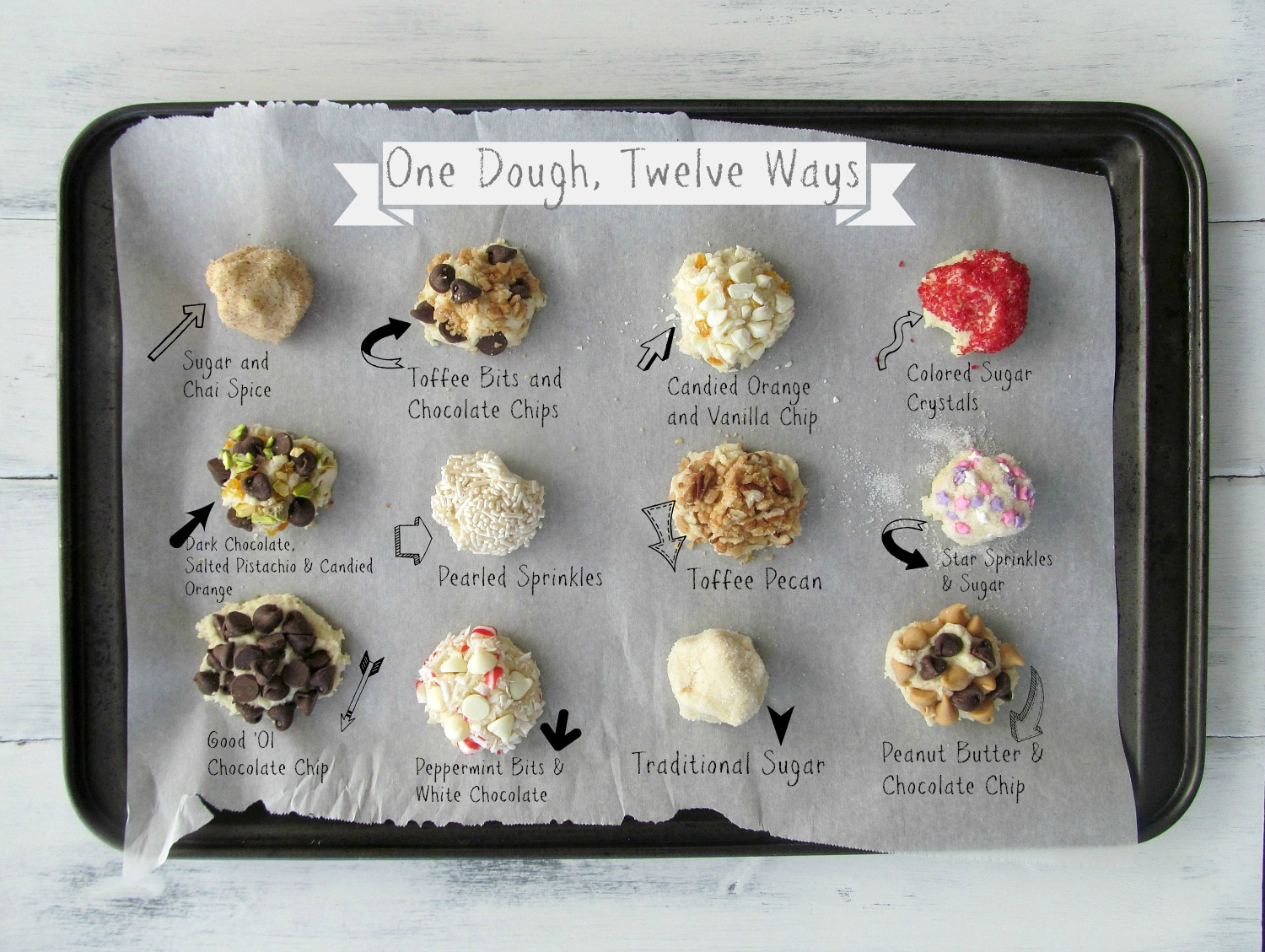One Dough, Twelve Ways: A versatile drop sugar cookie dough. Make one recipe and dress it a dozen different ways!