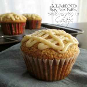 Almond Poppy Seed Muffins with Brown Butter Glaze